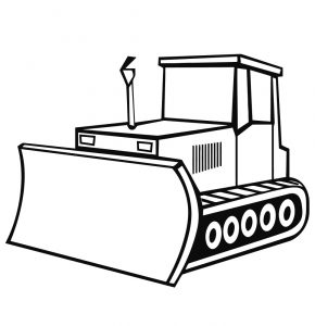 Gambar Mewarnai Kendaraan Buldozer