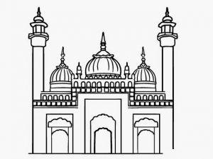 Kumpulan Gambar Mewarnai Masjid Resolusi Bagus 2018 Marimewarnaicom