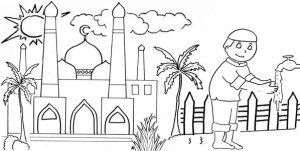 Kumpulan Gambar Mewarnai Masjid Resolusi Bagus 2020