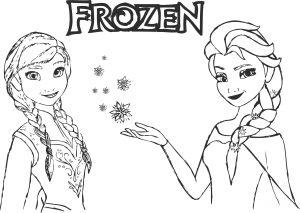 Gambar Mewarnai Frozen Anna & Elsa