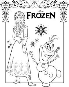 Gambar Mewarnai Frozen Anna & Olaf
