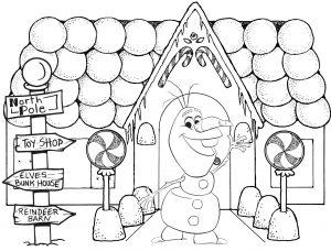 Gambar Mewarnai Frozen Rumah Olaf