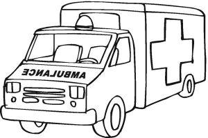 Gambar Mewarnai Mobil Ambulance