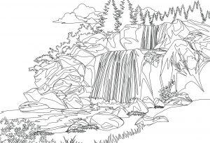 Gambar Mewarnai Pemandangan Air Terjun Alam