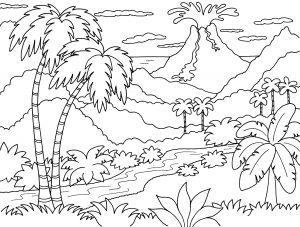 Gambar Mewarnai Pemandangan Gunung Meletus