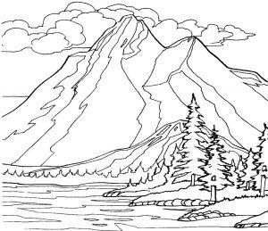 Gambar Mewarnai Pemandangan Hutan Gunung