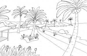 Gambar Mewarnai Pemandangan Jalan Desa