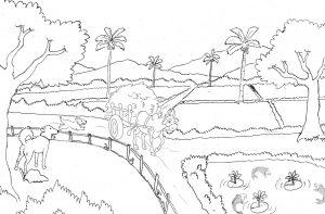 Gambar Mewarnai Pemandangan Pedesaan