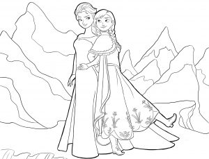 Mewarnai Frozen Anna & Elsa