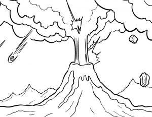 Mewarnai Gambar Gunung Merapi Anak TK