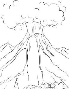 Mewarnai Gambar Gunung Merapi Jogja