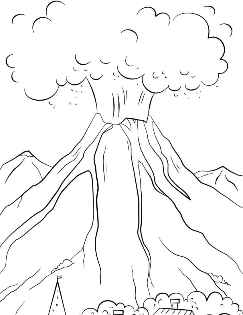 14 Mewarnai Gambar Gunung Merapi Untuk Tk Sd Paud