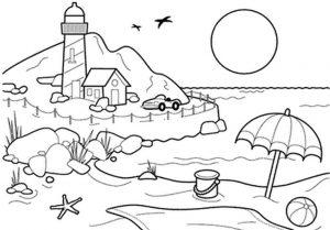 Mewarnai Gambar Pemandangan Pantai Anak TK