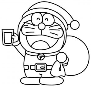 mewarnai gambar doraemon natal