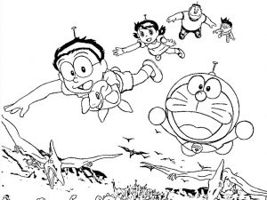 mewarnai gambar doraemon nobita