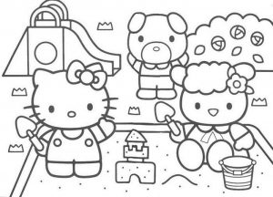 mewarnai gambar hello kitty & Friends