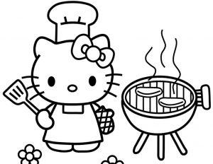 mewarnai gambar hello kitty memasak