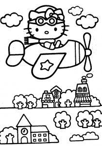 mewarnai gambar hello kitty pesawat