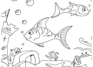 Gambar Mewarnai Binatang Laut Ikan