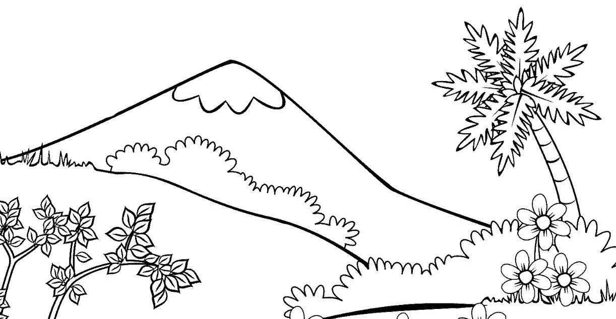 15 Mewarnai Gambar Pemandangan Gunung Anak Tk Paud Dan Sd