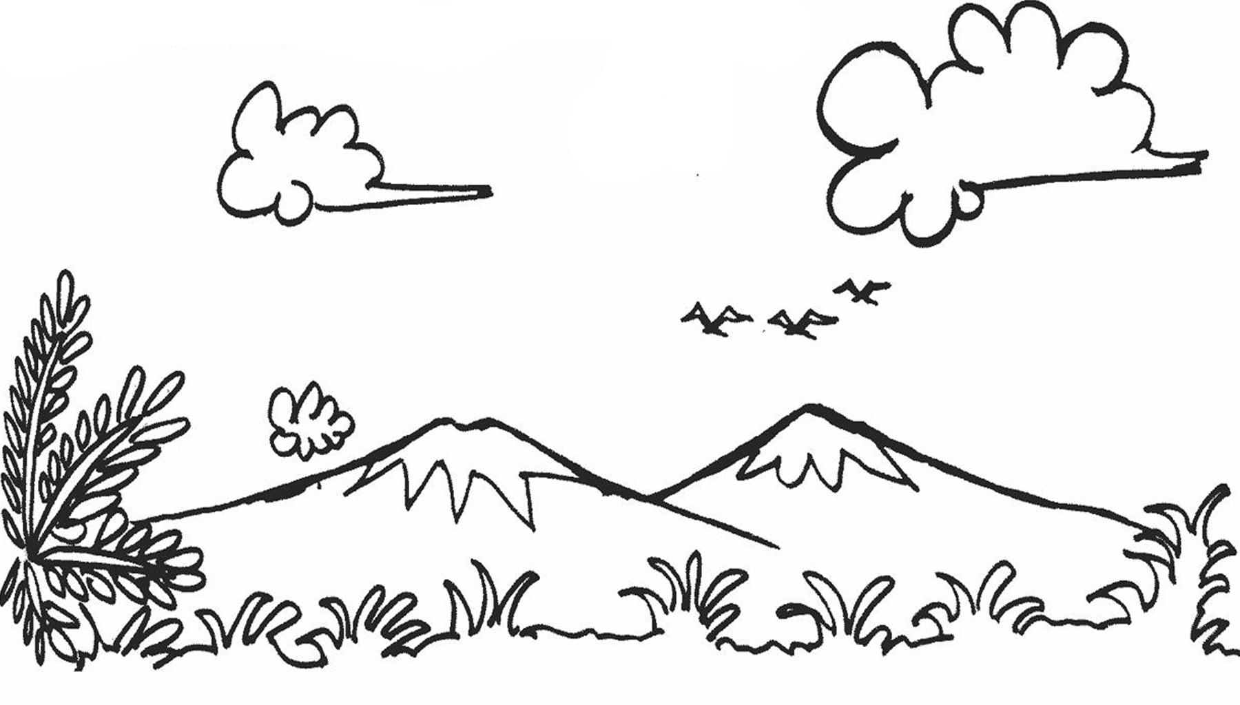 Anak Sd Gambar Pemandangan Gunung Dan Rumah Rumah Joglo Limasan Work