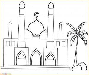 Gambar Mewarnai Masjid 01 Marimewarnai