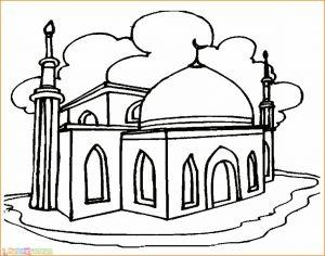 Gambar Mewarnai Masjid 03 Marimewarnai