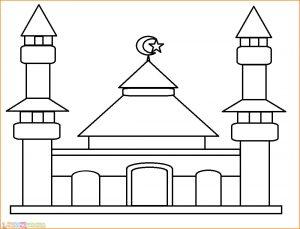 Gambar Mewarnai Masjid 05 Marimewarnai
