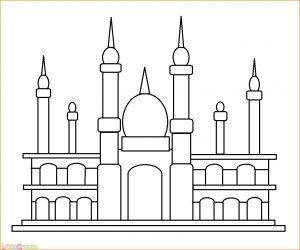 Gambar Mewarnai Masjid 06 Marimewarnai