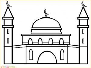 Gambar Mewarnai Masjid 07 Marimewarnai
