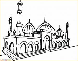 Gambar Mewarnai Masjid 08 Marimewarnai