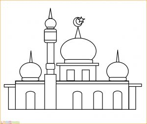 Gambar Mewarnai Masjid 09 Marimewarnai