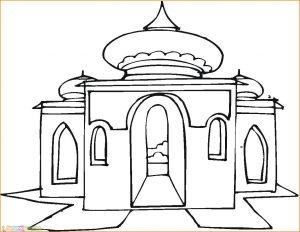 Gambar Mewarnai Masjid 10 Marimewarnai