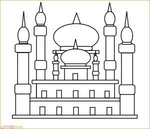 Gambar Mewarnai Masjid Nabawi 01 Marimewarnai