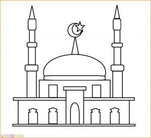 Gambar Mewarnai Masjid Nabawi 02 Marimewarnai