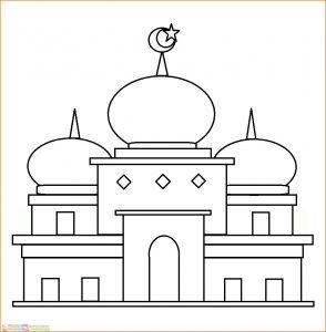 Gambar Mewarnai Masjid Nabawi 03 Marimewarnai