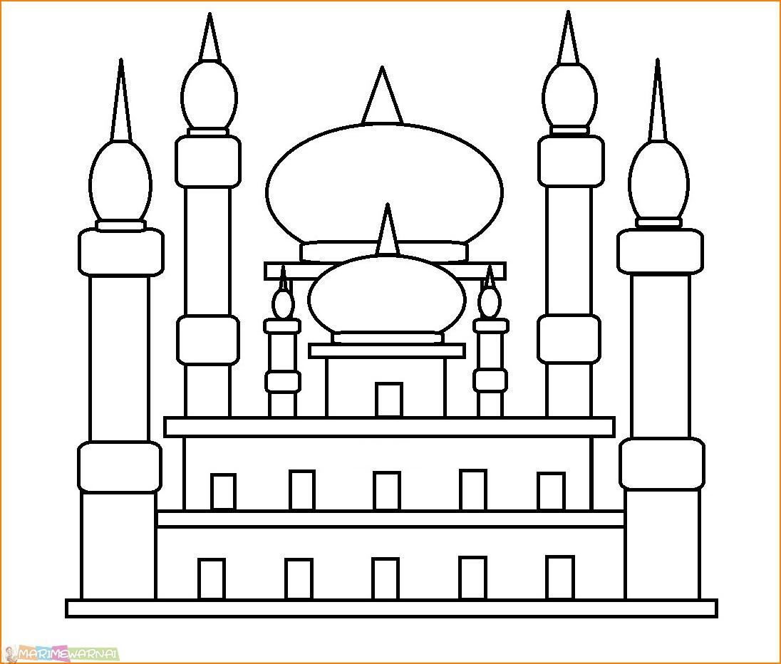 29 Gambar Mewarnai Masjid Nabawi Terlengkap 2020 Marimewarnai Com