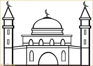 Gambar Mewarnai Masjid Nabawi 07 Marimewarnai