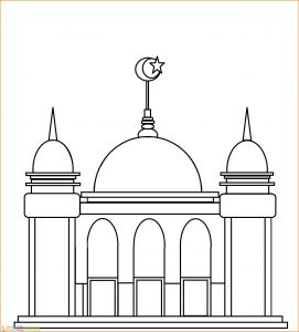 Gambar Mewarnai Masjid Nabawi 08 Marimewarnai