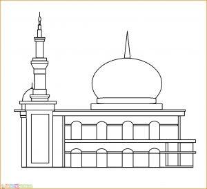 Gambar Mewarnai Masjid Nabawi 11 Marimewarnai
