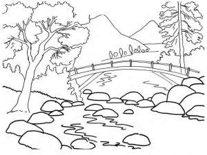 Gambar Mewarnai Pemandangan Sungai
