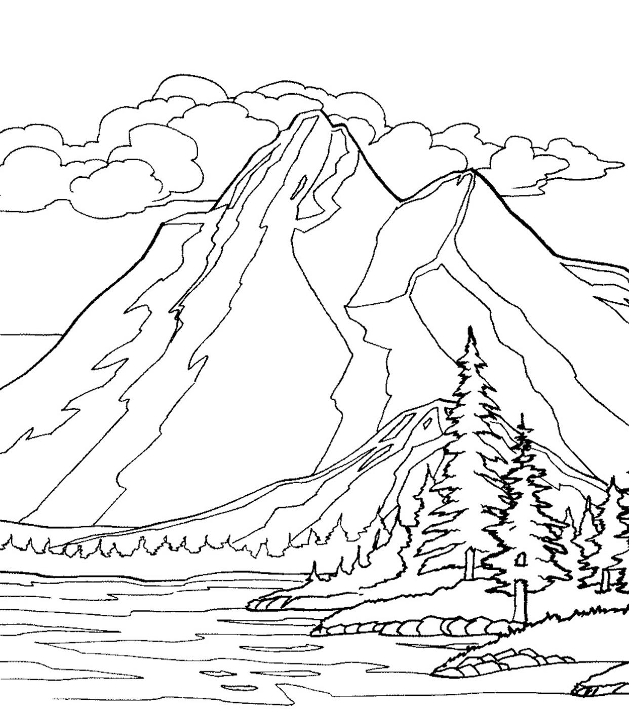 Gambar Mewarnai Gunung Dan Rumah