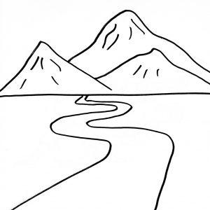Mewarna Gambar Pemandangan Gunung