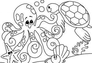 Mewarnai Binatang Laut Gurita