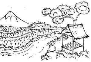 Mewarnai Gambar Pemandangan Gunung Anak TK