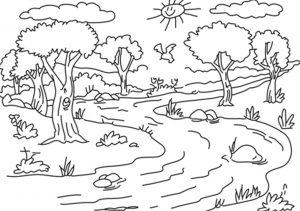 Mewarnai Gambar Pemandangan Sungai Anak TK