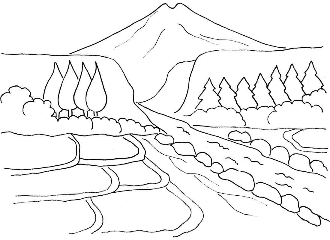 Kumpulan Gambar Mewarnai Pemandangan Sungai Anak Tk Paud