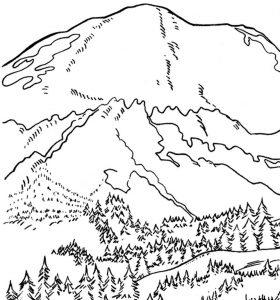 Mewarnai gambar pemandangan gunung anak sd
