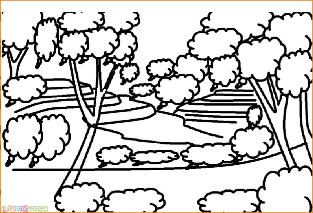 √120 Sketsa Gambar Pemandangan Alam Bagus Dan Berwarna