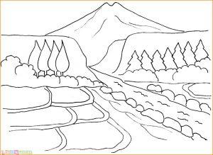 Sketsa Gambar Pemandangan Alam 03